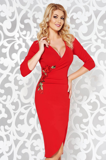 StarShinerS red dress elegant with embroidery details with tented cut flexible thin fabric/cloth