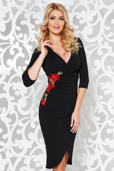 StarShinerS black dress elegant with embroidery details with tented cut flexible thin fabric/cloth