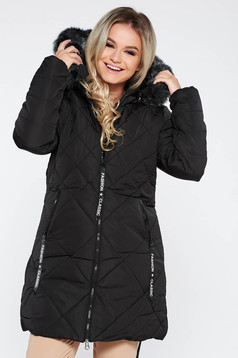SunShine black casual from slicker jacket with faux fur lining with straight cut with furry hood with pockets