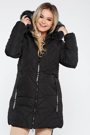 Black jacket casual from slicker with faux fur lining with straight cut with furry hood with pockets