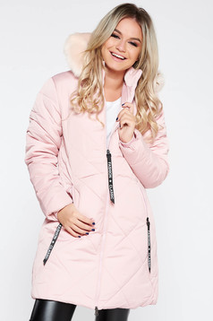 Lightpink jacket casual from slicker with faux fur lining with straight cut with furry hood with pockets