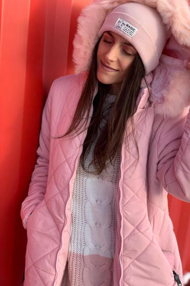 SunShine lightpink casual from slicker jacket with faux fur lining with straight cut with furry hood with pockets