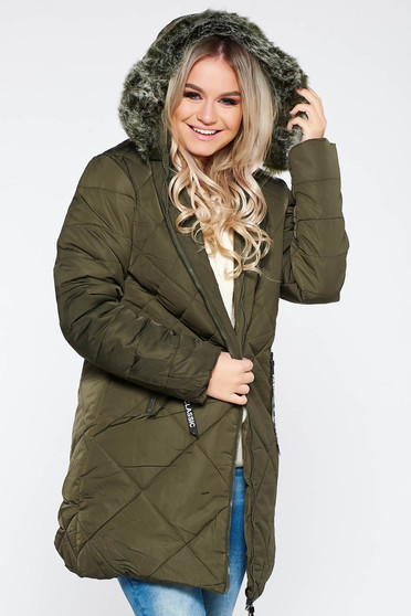 SunShine khaki casual from slicker jacket with faux fur lining with straight cut with furry hood with pockets