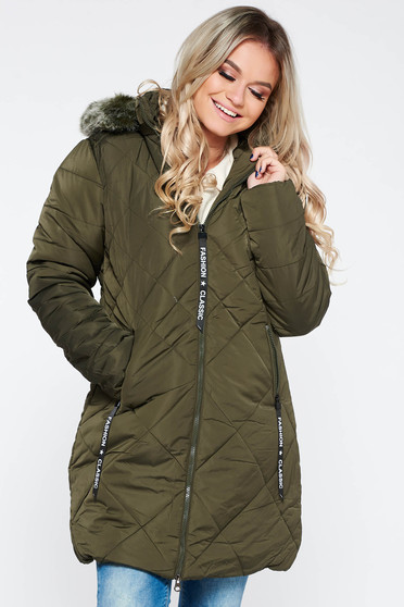 Khaki jacket casual from slicker with faux fur lining with straight cut with furry hood with pockets