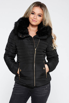 Black casual jacket from slicker with faux fur lining fur collar