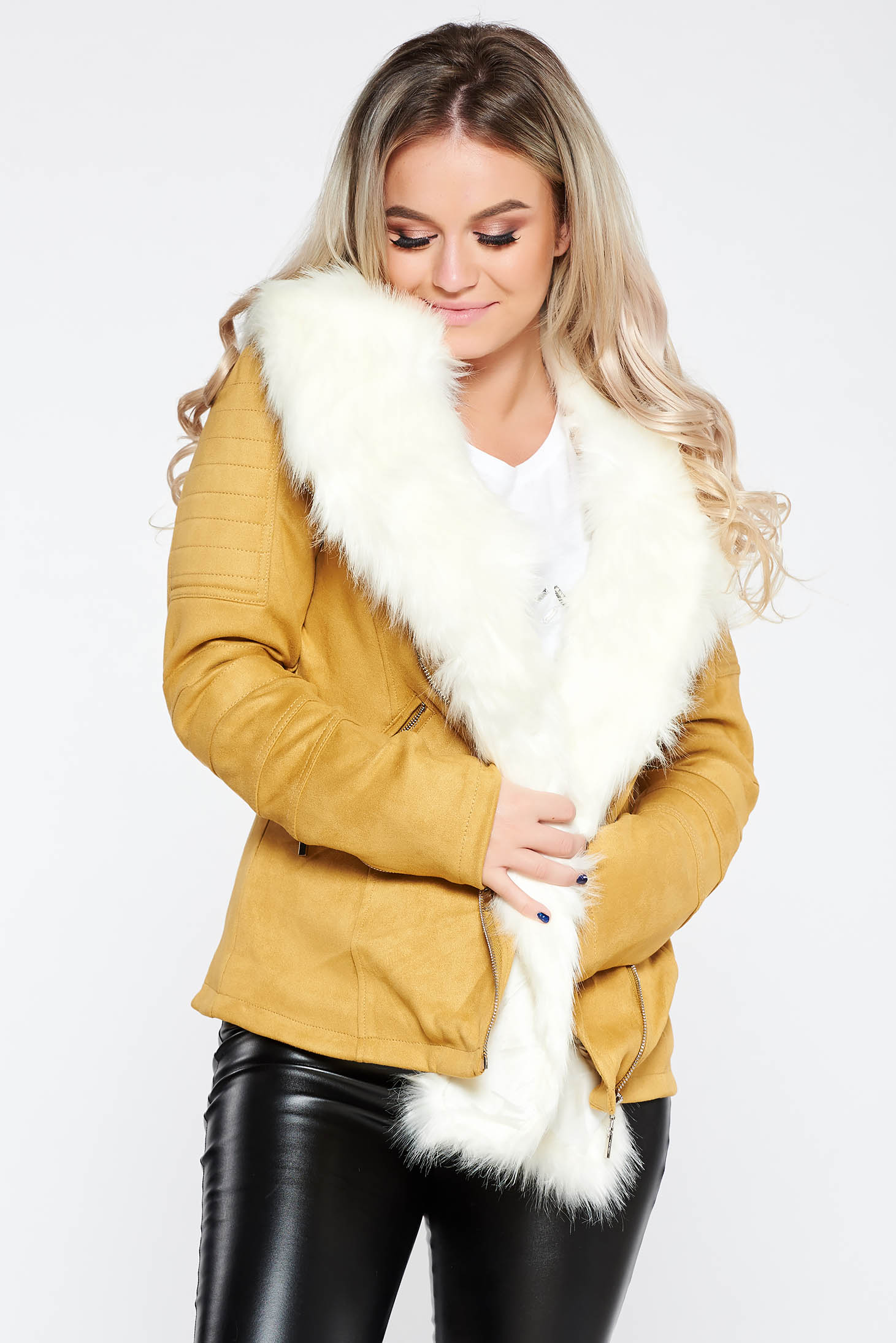 Mustard casual jacket from velvet fabric long sleeve detachable collar from ecological fur