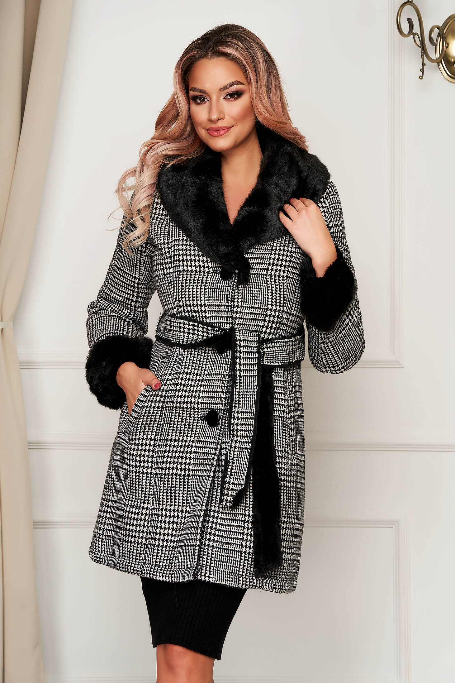 Elegant arched cut coat cloth plaid fabric with faux fur lining black accessorized with tied waistband
