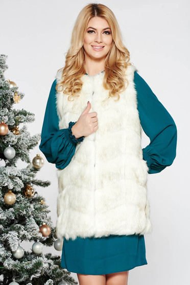 White from ecological fur gilet with inside lining with easy cut