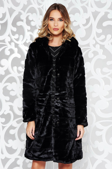 Black casual coat from ecological fur with inside lining