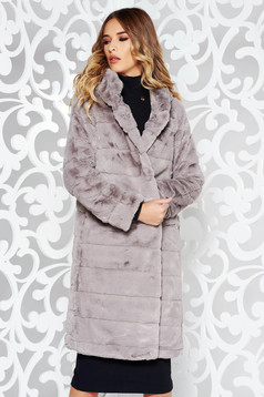 Grey casual coat from ecological fur with inside lining