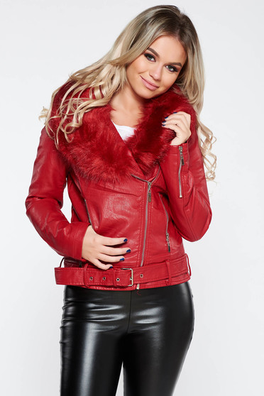 Red casual short cut jacket from ecological leather with faux fur lining fur collar