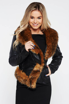 Black short cut jacket from ecological leather with inside lining arched cut fur collar