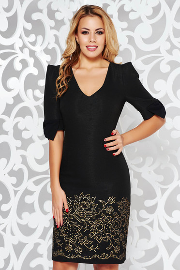 Black elegant pencil dress with tented cut with v-neckline from jacquard with lame thread