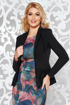 LaDonna black elegant tented jacket slightly elastic fabric with inside lining