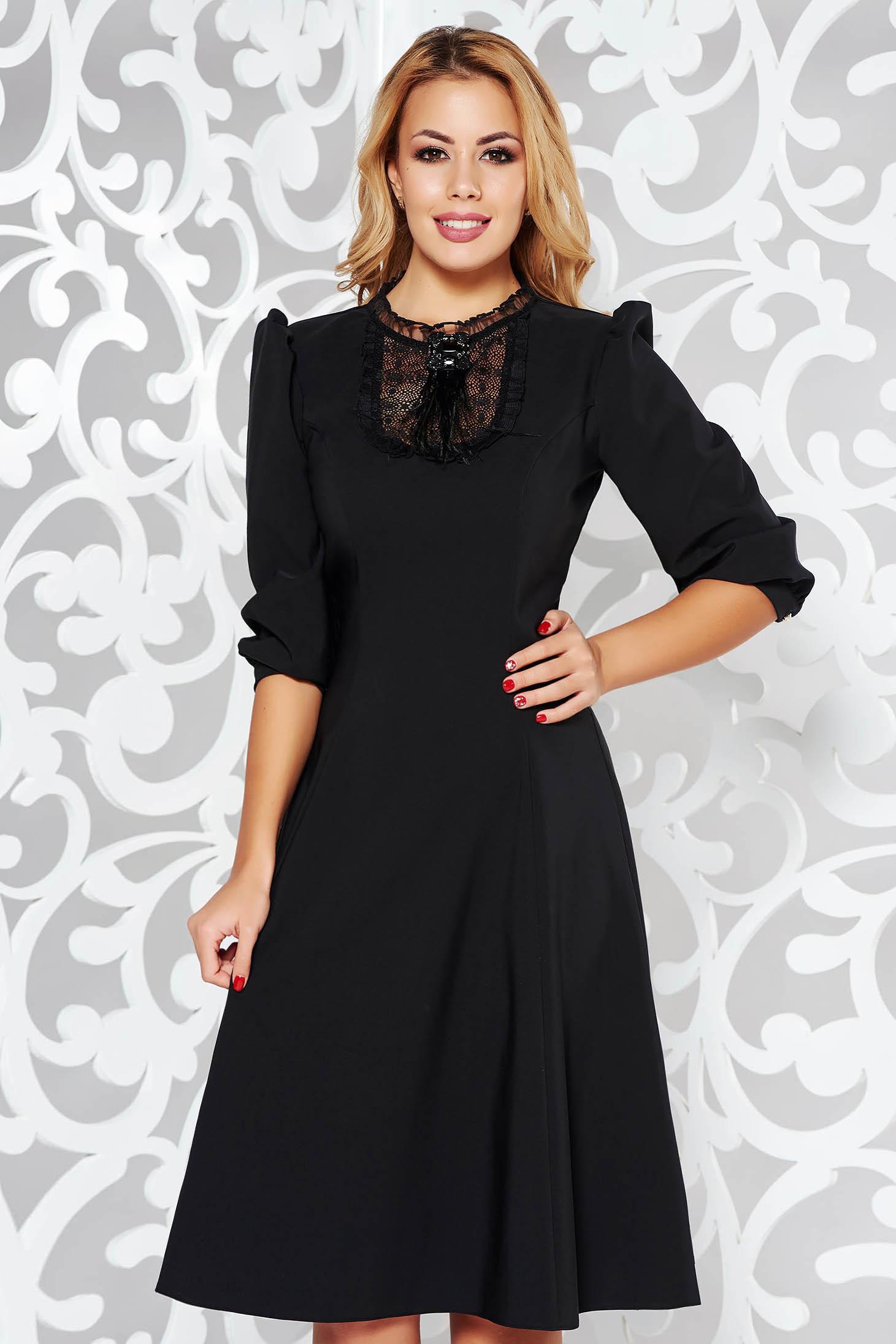 ladonna black elegant cloche dress slightly elastic fabric with lace