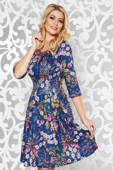 Blue daily cloche dress with floral prints