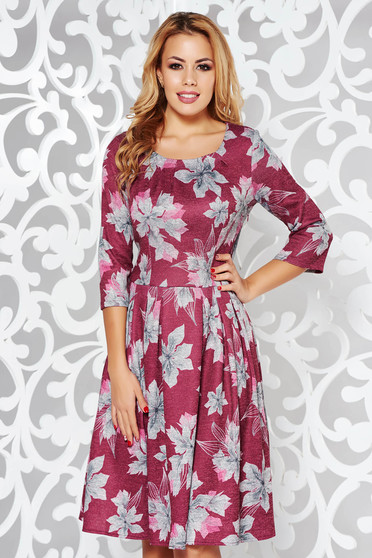 Burgundy daily cloche dress with 3/4 sleeves knitted fabric with floral print