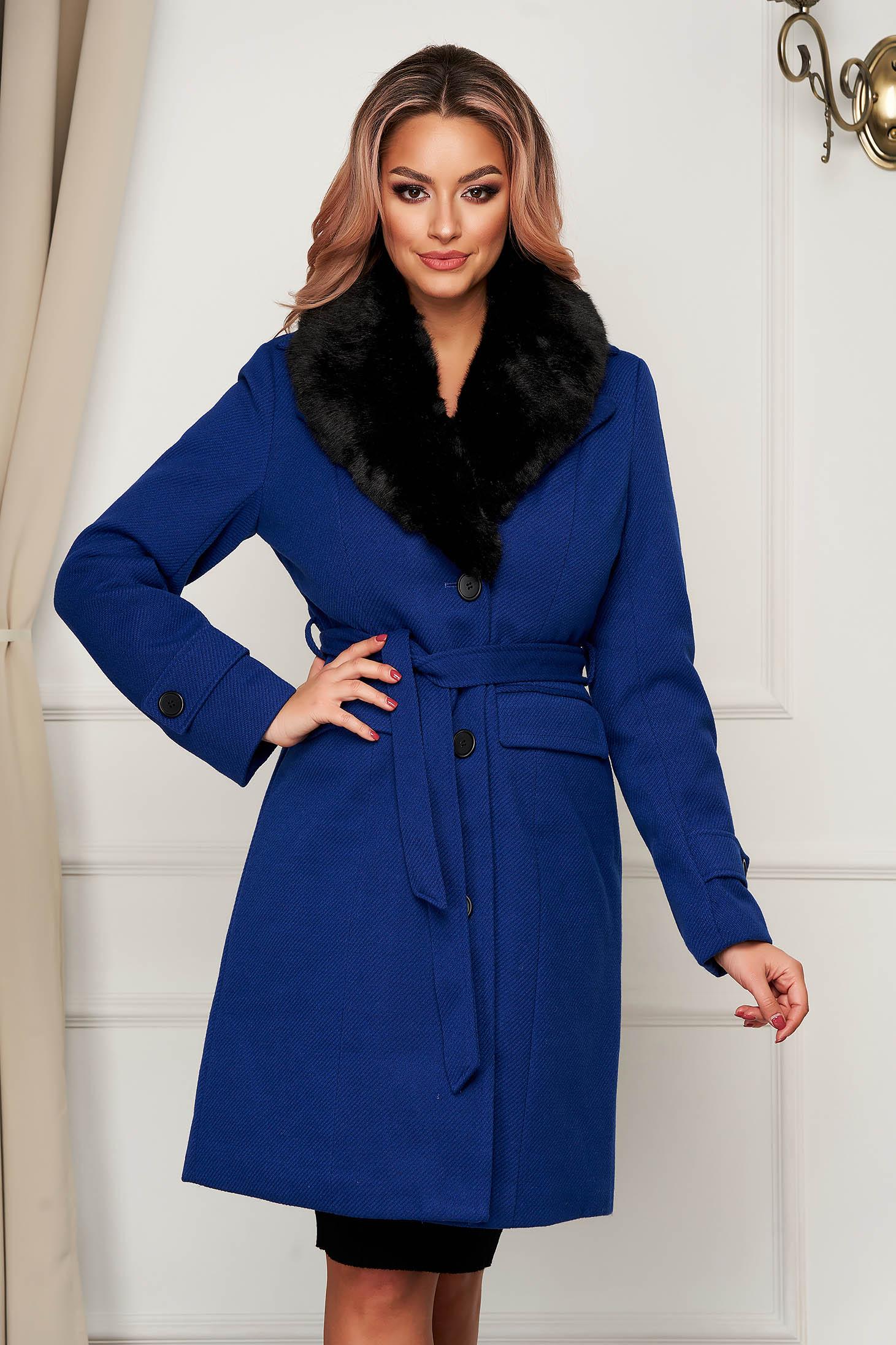 Blue elegant arched cut coat cloth fur collar