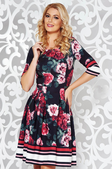 Black elegant cloche dress slightly elastic fabric with floral prints