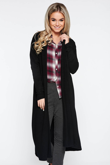 Black long cardigan with easy cut long sleeved knitted fabric