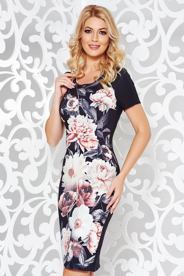 Black elegant pencil dress slightly elastic fabric with floral prints