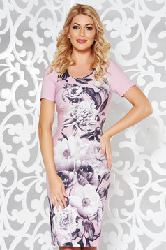 Pink elegant pencil dress slightly elastic fabric with floral prints