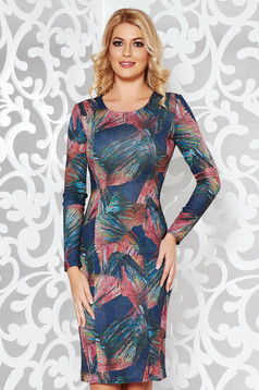 Darkgreen daily pencil dress knitted fabric with print details