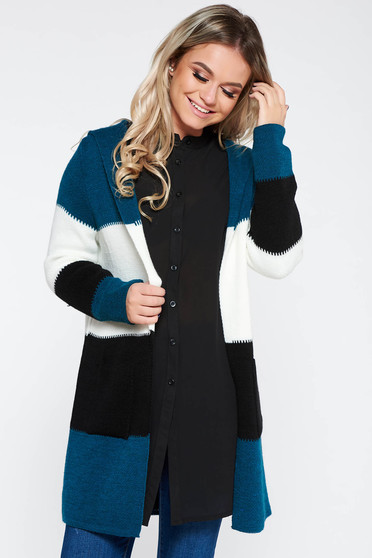 Cardigan turquoise SunShine casual with easy cut knitted fabric with pockets with undetachable hood
