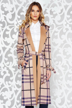 Brown casual long trenchcoat soft fabric plaid fabric accessorized with tied waistband