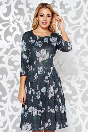 Black daily cloche dress knitted fabric with floral prints