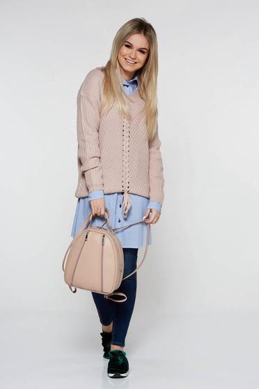 Rosa casual sweater with easy cut with v-neckline knitted fabric