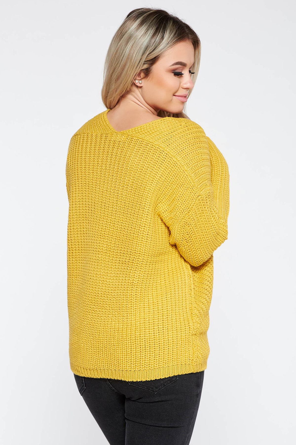 Pulover SunShine mustariu casual cu croi larg din material tricotat accesorizat cu snur