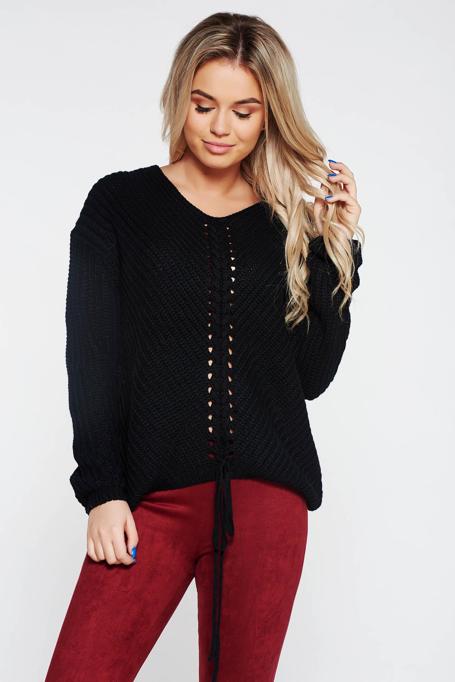 Pulover SunShine negru casual cu croi larg din material tricotat accesorizat cu snur