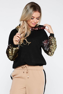 Black SunShine casual flared sweater knitted fabric soft fabric with sequin embellished details