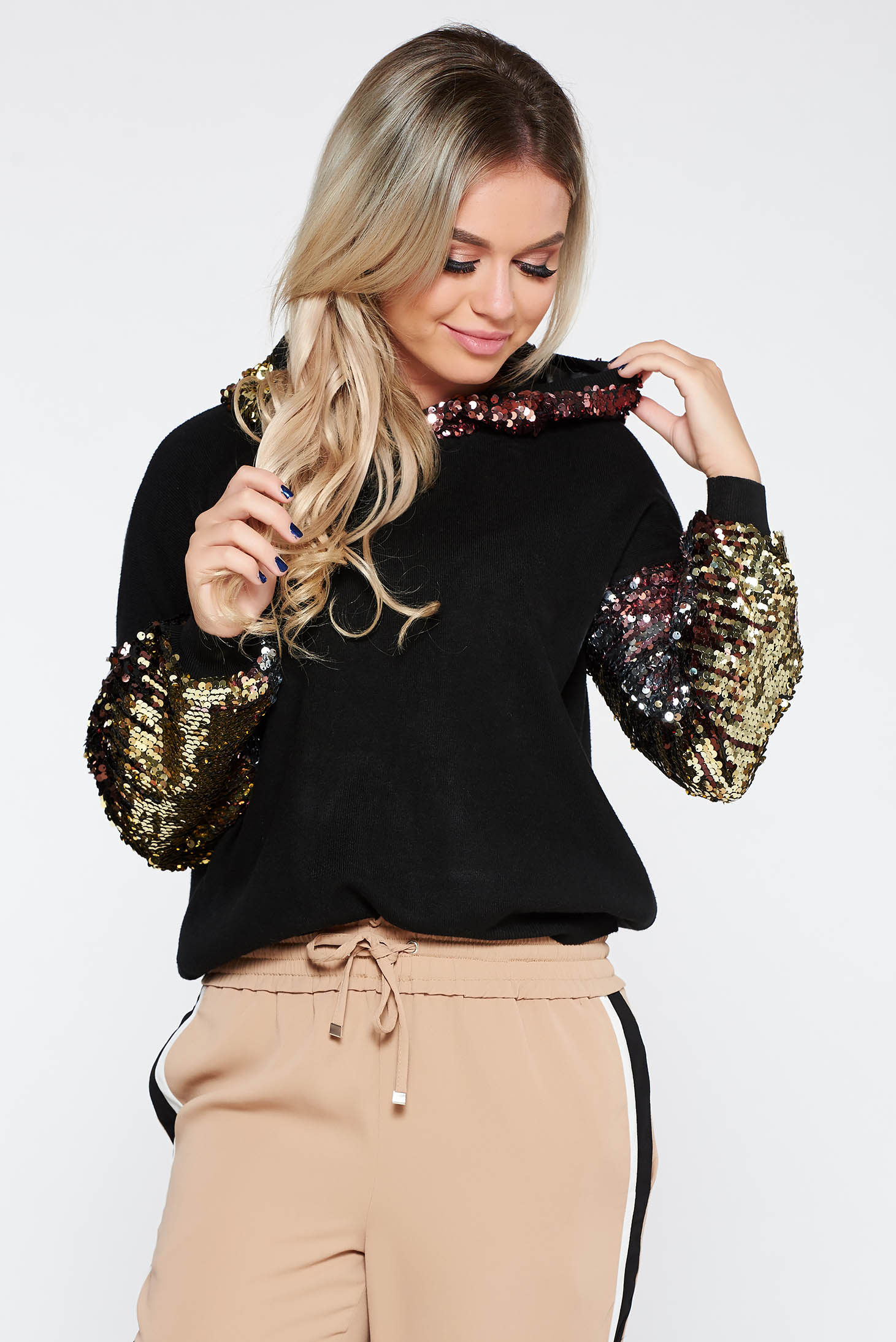 Sweater SunShine black casual flared knitted fabric soft fabric with sequin embellished details