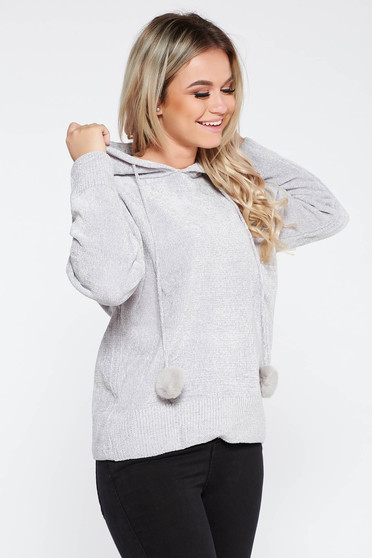 Sweater SunShine grey casual knitted fabric from soft fabric with undetachable hood