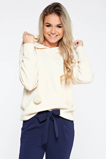 Sweater SunShine nude casual knitted fabric from soft fabric with undetachable hood