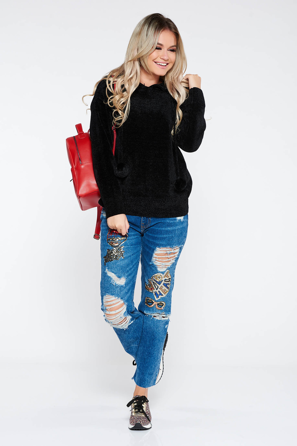 Pulover SunShine negru casual din material tricotat moale si pufos cu gluga nedetasabila