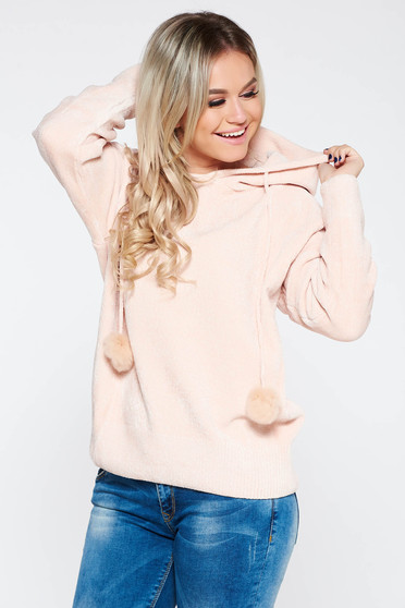 Sweater SunShine rosa casual knitted fabric from soft fabric with undetachable hood