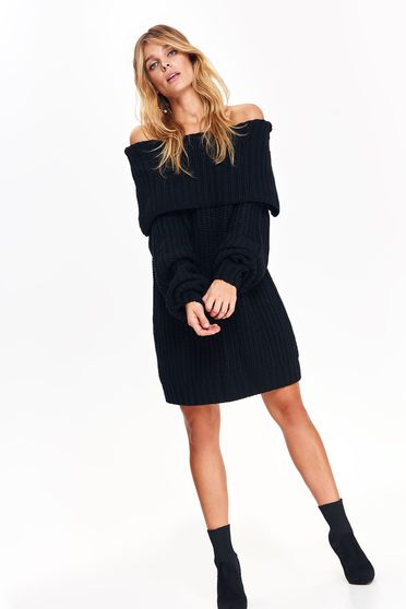 Top Secret black casual sweater knitted fabric on the shoulders