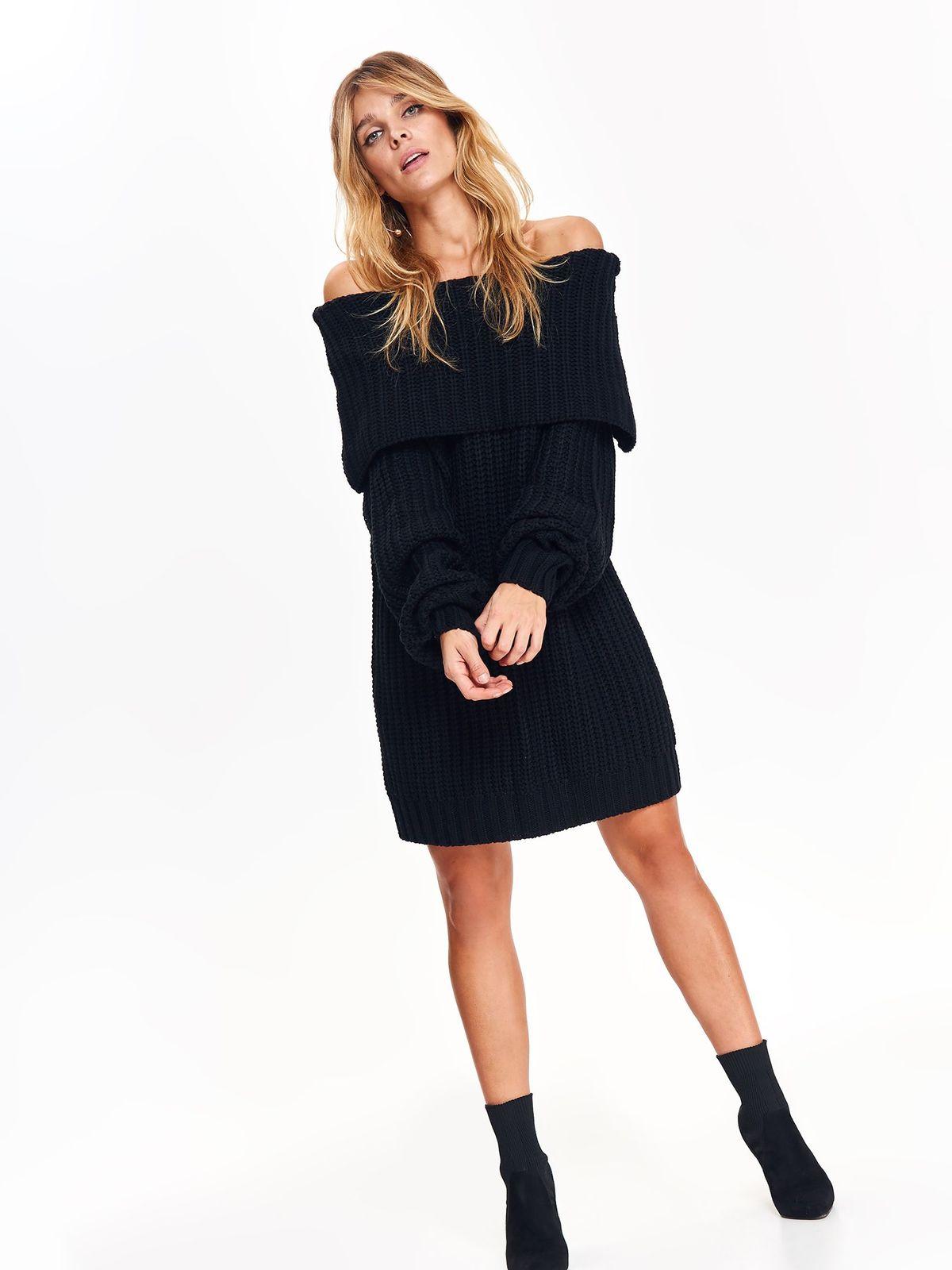 Pulover Top Secret negru casual din material tricotat pe umeri