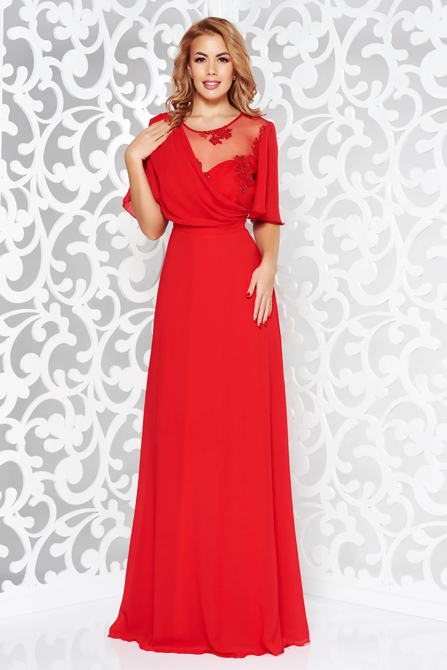 pret nebun cod promoțional stiluri noi Rochie rosie de ocazie lunga in clos din voal cu aplicatii de dantela