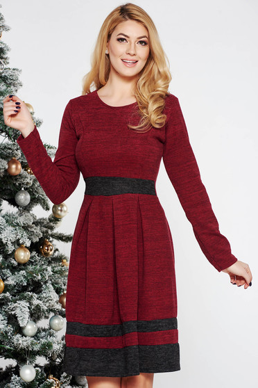 Burgundy daily cloche dress knitted fabric
