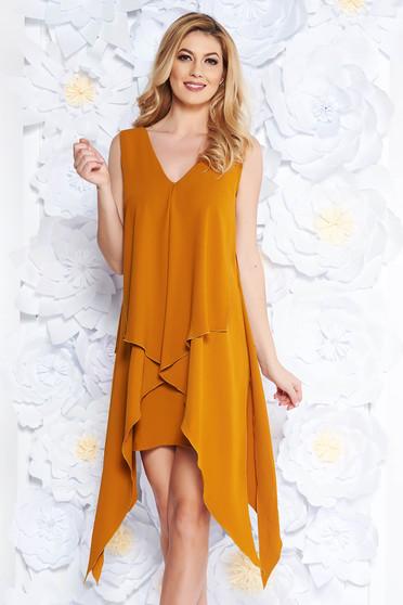 Mustard elegant asymmetrical dress slightly elastic fabric fabric overlay