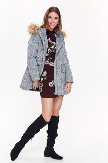 Top Secret grey casual flared coat from thick fabric detachable hood