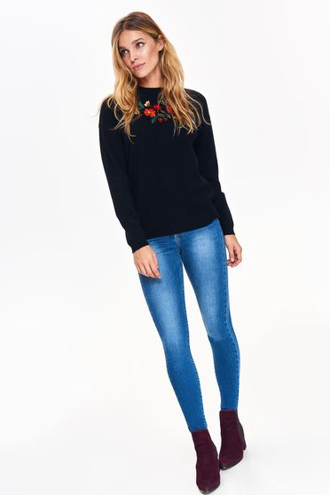 Top Secret black casual flared sweater from soft fabric with embroidery details