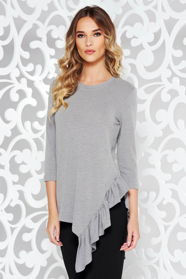 StarShinerS grey casual asymmetrical flared women`s blouse knitted fabric with ruffle details