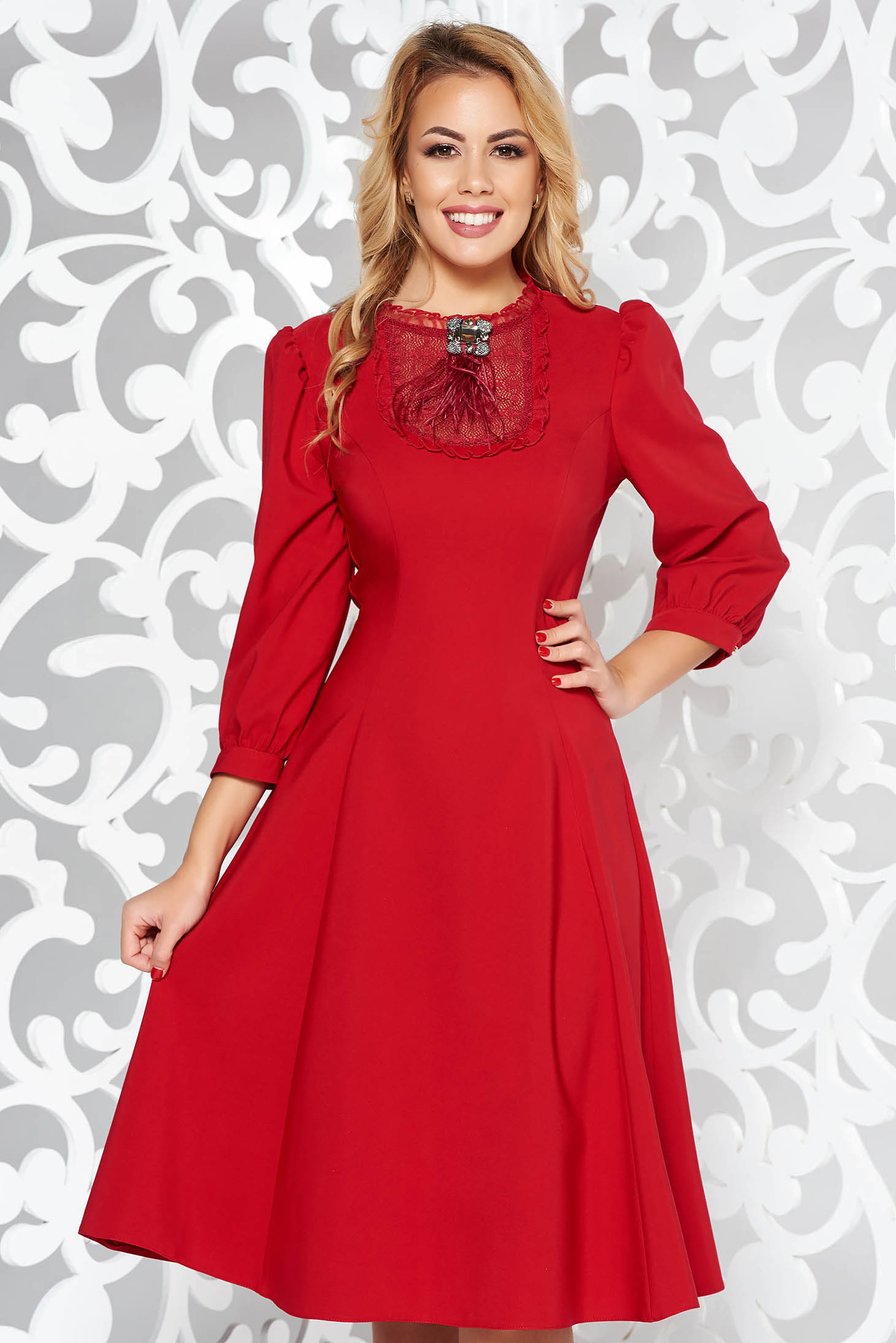 LaDonna red elegant cloche dress slightly elastic fabric with lace details accessorized with breastpin