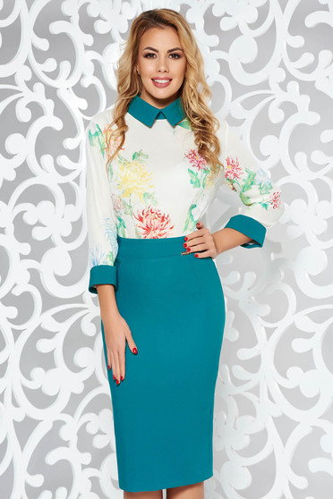 PrettyGirl turquoise elegant pencil dress slightly elastic fabric
