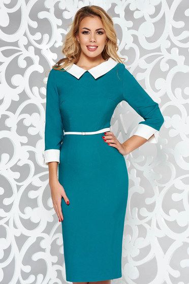 PrettyGirl green elegant pencil dress with tented cut flexible thin fabric/cloth accessorized with belt
